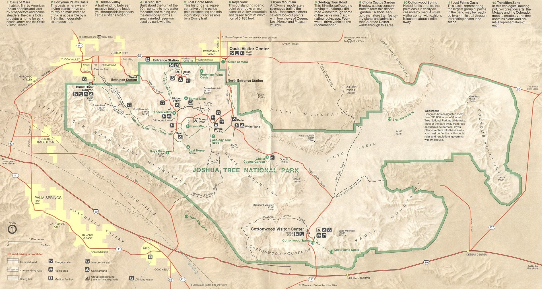 Joshua Tree National Park Map wolrd map